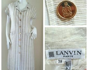 Vintage Lanvin Linen Dress, Size 38