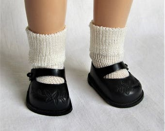 Original Ideal Toni Doll P-90 Black Embossed Shoes and Rayon Socks.