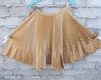 Vintage Skirt Japanese Inspired Constructed Short Gold Large