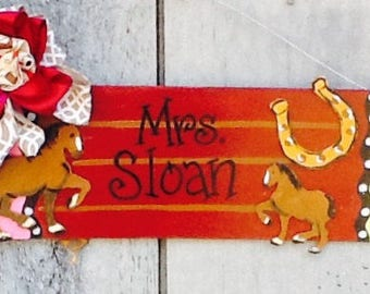 Teacher door hanger, pencil door hanger, western door hanger, horse door hanger, school door hanger, teacher gift sign, teacher sign,
