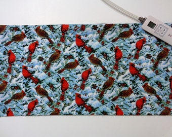Heating Pad Cover ~ Electric Heating Pad Cover ~ Fits 12 x 24 ~ Cover Only ~ Snowy Cardinals