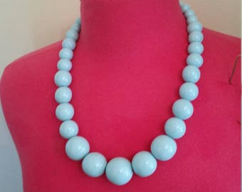 Mid-century Blue Ball Bead Necklace
