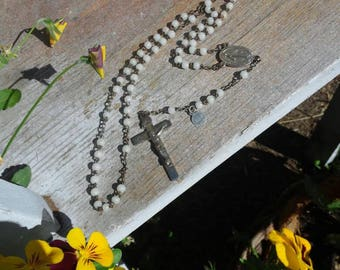 Antique Rosary with Glass Beads, France