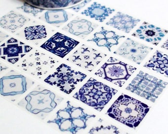 Blue & White tile washi tape