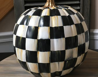 "9"" black and white checkered plastic pumpkins"