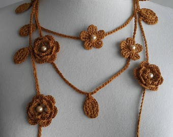 Crochet Rose Necklace,Crochet Neck Accessory, Flower Necklace, Spicy Mustard Colour,Dark Yellow, 100% Cotton.