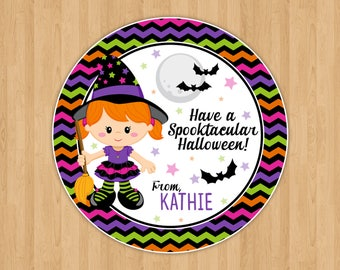Girl Witch Halloween Favor Tags