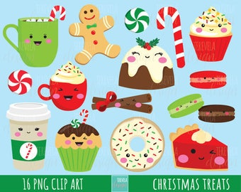 50% SALE CHRISTMAS clipart, christmas treats, commercial use, christmas graphics,  instant download, Kawaii christmas, desserts clipart