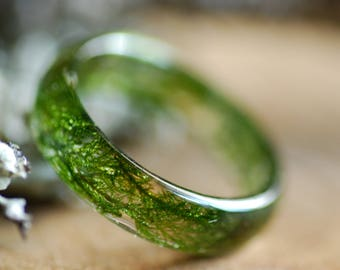 Real Moss Ring, Nature Ring, Resin green moss ring, Terrarium jewelry, Green ring, Real flower ring, Botanical resin ring, Forest jewelry