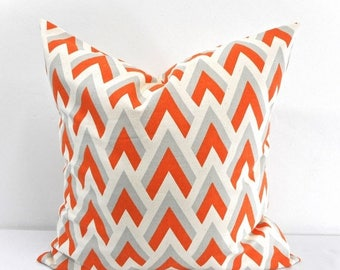 SALE Zapp Mandarin/Natural Pillow case. Sham cover, Orange gray and natural ,Cushion cover, Select your size.