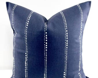 SALE Indigo Pillow cover. Carlo. Vintage indigo dotted stripe  Throw pillow cover. Euro pillow case. Select size
