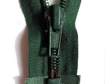 Dark green nylon 5 vintage zipper divisible size 5 (OPTI 461) Zip Cremallera cerniera молния רוכסן fermuar cipzár fermeture éclair