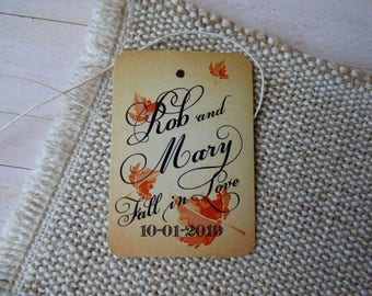 Fall Wedding Favor Tags, Personalized Tag, Wedding Favor Tag, Rustic Leaf Wedding Tags.Set of 25 to 300 pieces, Custom Language available.