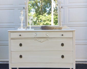 Vintage French Provincial Dresser, Cottage White Chest of Drawers, Distressed Shabby Chic Dresser with Mirror