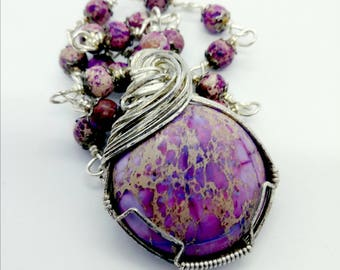 Sea Sediment Jasper Rosary Style Wrap pendant necklace