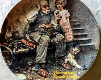 """Norman Rockwell """"The Cobbler"""" Limited Edition Collector Plate; Edwin Knowles; Heritage collection; 1978"""