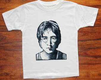 Kids Lennon T Shirt Boys John Lennon Tee Shirt Graphic T Shirt Beatles Cotton Tee Shirt  Illustrated  Printed Tee Shirt Hipster Clothing