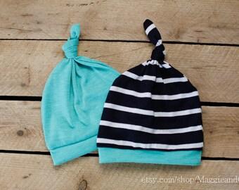 Knot Top Newborn Hat, Newborn Stripe Hat, Twin Hat Set, Take Home Outfit, Newborn Boy Hat, New Baby Hat, Baby Boy Hat, Stripe Knit Top Hat