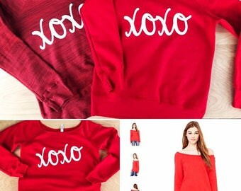 xoxo love valentine's off the shoulder sweatshirt or Tee - relaxed/slouchy fit