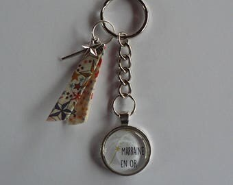 Porte clés Cabochon verre 30mm  Marraine en Or et Liberty Cadeau Marraine