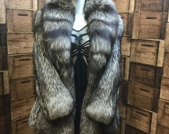 Dark silver fox fur coat, vintage fox, Faulks of Birmingham, silver fox jacket, 1980 fox jacket, fox coat, winter coat, cosy vintage coat.