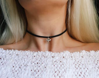 Vegan Suede Shark Tooth Charm Choker Necklace