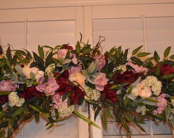 Bohemian Wedding Arch, Wedding Archway Swag, Wedding Ceremony Swag, Wedding Arch flowers, Peony Rose Arch, Coral Arch, Mantle Swag