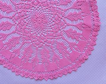 Pink round crochet doily No.56