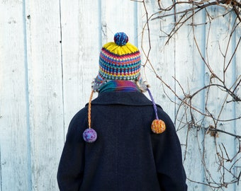 Hand knitted colourful woolen winter hat