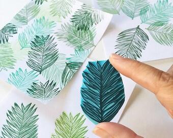 Palm Leaf, Rubber Stamp, Tropical, Hand Carved Stamp, Summer Decor, Leaf Stamp