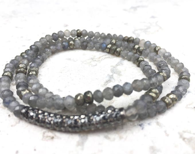 Gray Labradorite stone bracelet, Women's labradorite wrap gemstone bracelet with pyrite, easy slip on 3mmx4mm faceted gem.