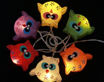 20 Multicolor cute owl paper lantern with LED Battery Operated String Light