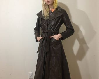 Vtg 70s Leather Trench Coat - Small Womens - Dark Brown - Long Leather Jacket - 1970s Vintage Clothing - Attman and Dallas - Classy Jacket -