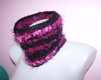 Cowl, snood, scarf - black/pink