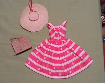 Vintage 1963 Barbie Busy Morning sun dress and hat.