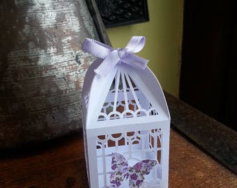 "small containers for sweets, candies, favors cage theme ""Butterfly"" shape"