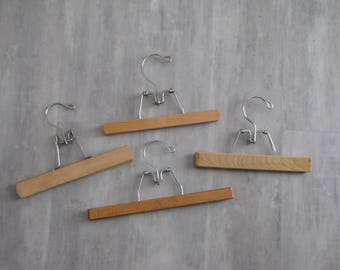 Set of Four Vintage Wooden Hangers