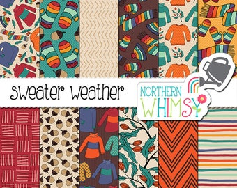 Fall Digital Paper - Sweater Weather - hand drawn sweater, hat, mitt, and scarf patterns in red, orange, gold, teal & brown - commercial use