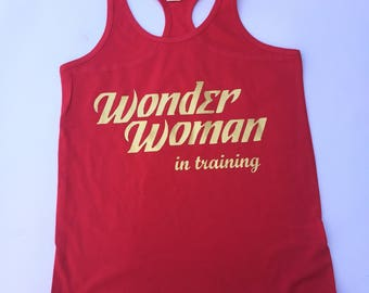 Wonder Woman in Training Tank || Kids tank || Racerback Tank || Kids || Infant Tank Top || Summer Tank Top || Superhero || Wonder Woman