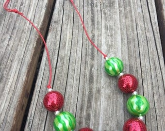 Watermelon Adjustable Cord Chunky Necklace  // Adjustable // Chunky Bead Necklace // Watermelon Beads