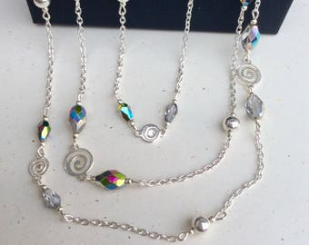Extra Long Necklace - Beaded Long Necklace - Long Chain Necklace - Multi Color Necklace - Long Statement Necklace - Multi Strand Necklaces