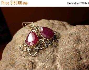Holiday SALE 85 % OFF Ruby Earrings .925 Sterling Silver Gemstone