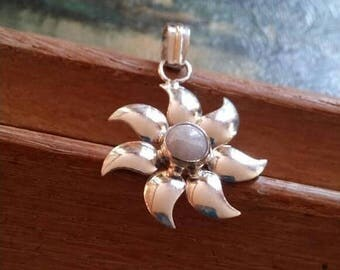 Holiday SALE 85 % OFF Moonstone Pendant  Gemstones  . 925 Sterling Silver Christmas SALE
