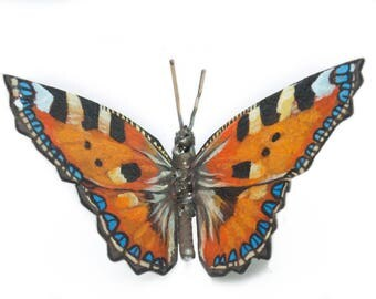 Metal Butterfly Sculpture, Scrap Metal, Small Tortoiseshell Butterfly, Oil Painted, Original Artwork