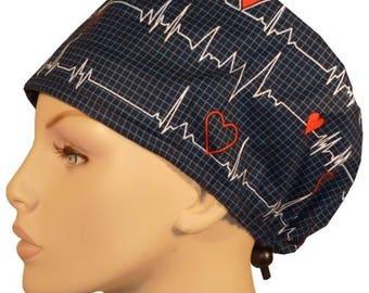 EKG ECG Surgical scrub hat heartbeat theatre cap anatomy cardiac