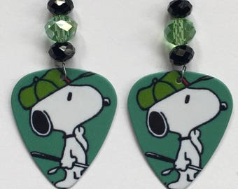 1 Pair- Snoopy Guitar Pick Earrings
