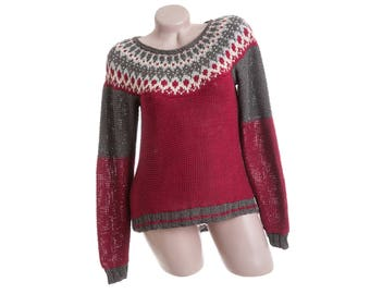Women's icelandic sweater - Red hand knit cotton sweater - Bordeaux sweater with icelandic patterns