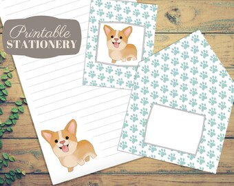 Corgi Printable Stationery Set - Instant Download Letter Writing Sheets, Note Cards, with Print-and-Fold Envelope