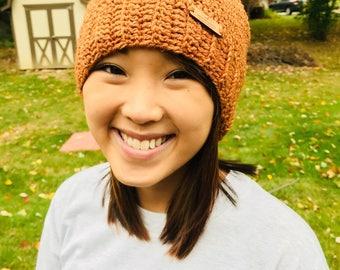 Fashionable crochet burnt orange slouchy hat
