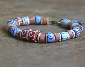 Mens trade bead bracelet with Awale chevrons, African bauxite and antique Venetian tic tac toe bead